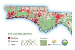 "Alternative 2070 Panhandle map if development is concentrated in existing urban areas.  Areas in North Escambia and Santa Rosa that were predicted for ""other use"" are mapped as conservation land"